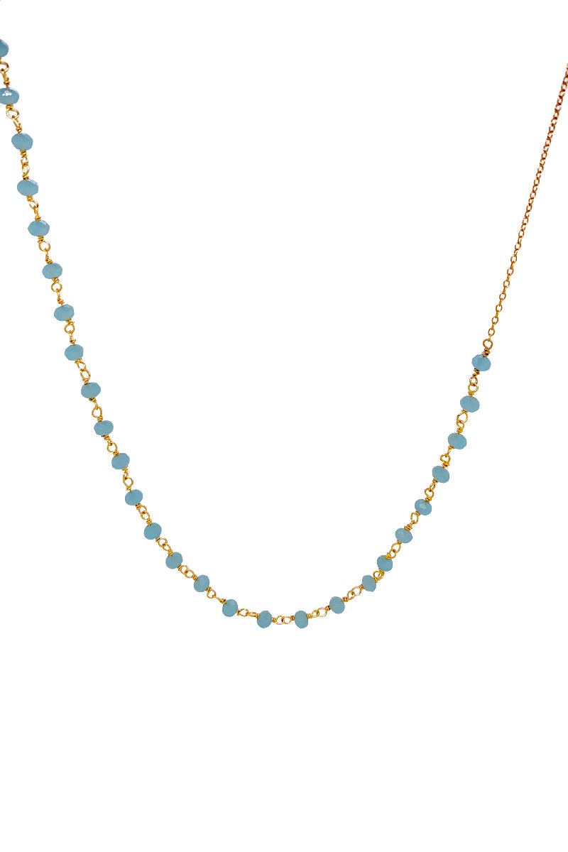 Anne Blue Aquamarine Necklace - Gold