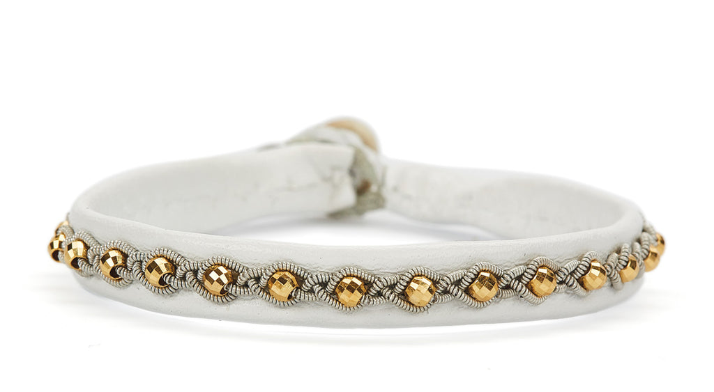 Annika Facet Gold Beads White