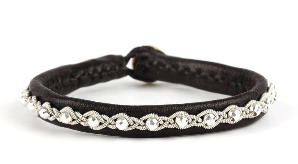 Annika Facet Silver Beads Black