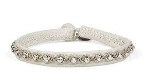 Annika Facet Silver Beads White