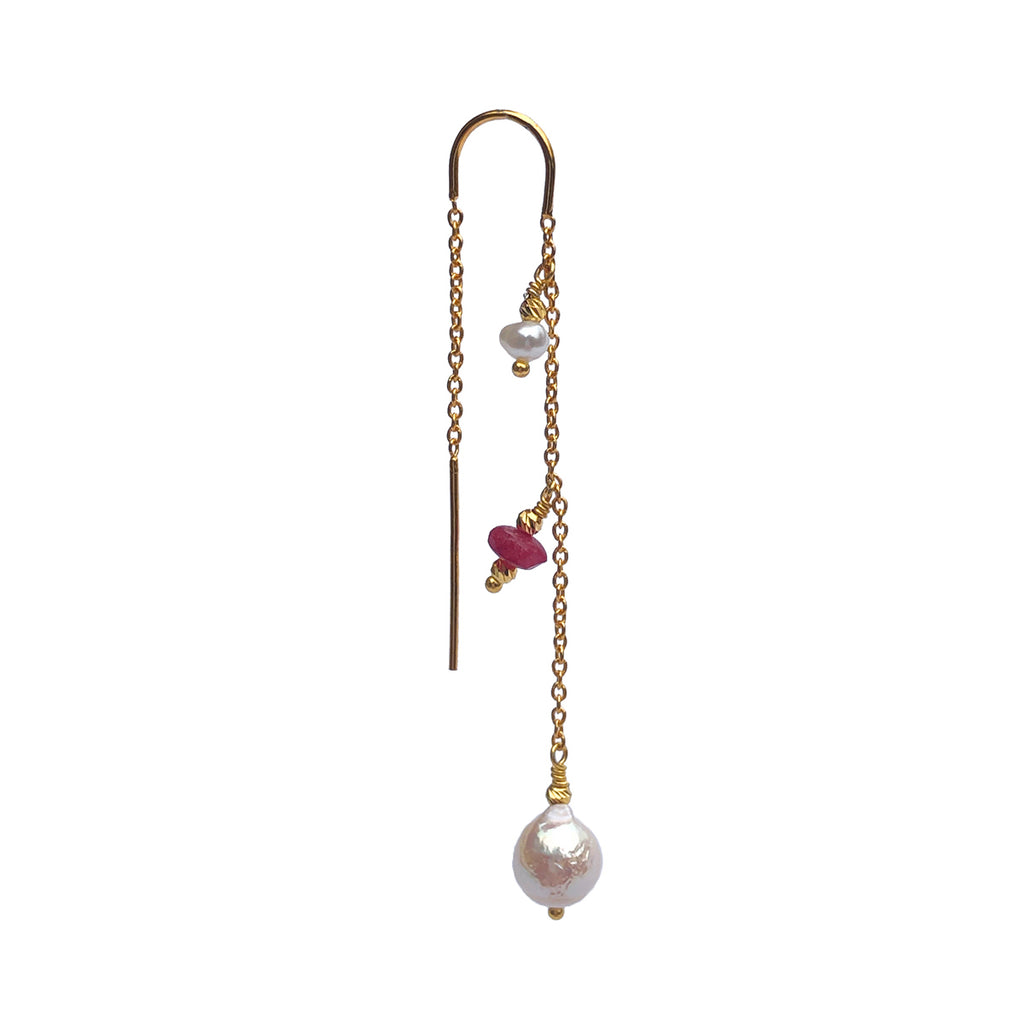 Anya Ruby Jade Earring - Gold