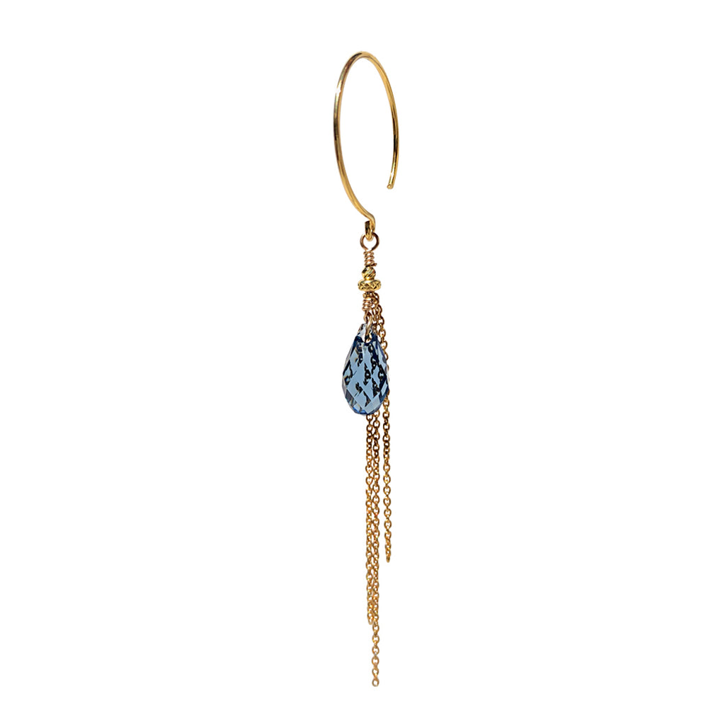 Aya Blue Crystal Single Earring - Gold
