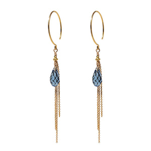Aya Blue Crystal Earrings GP