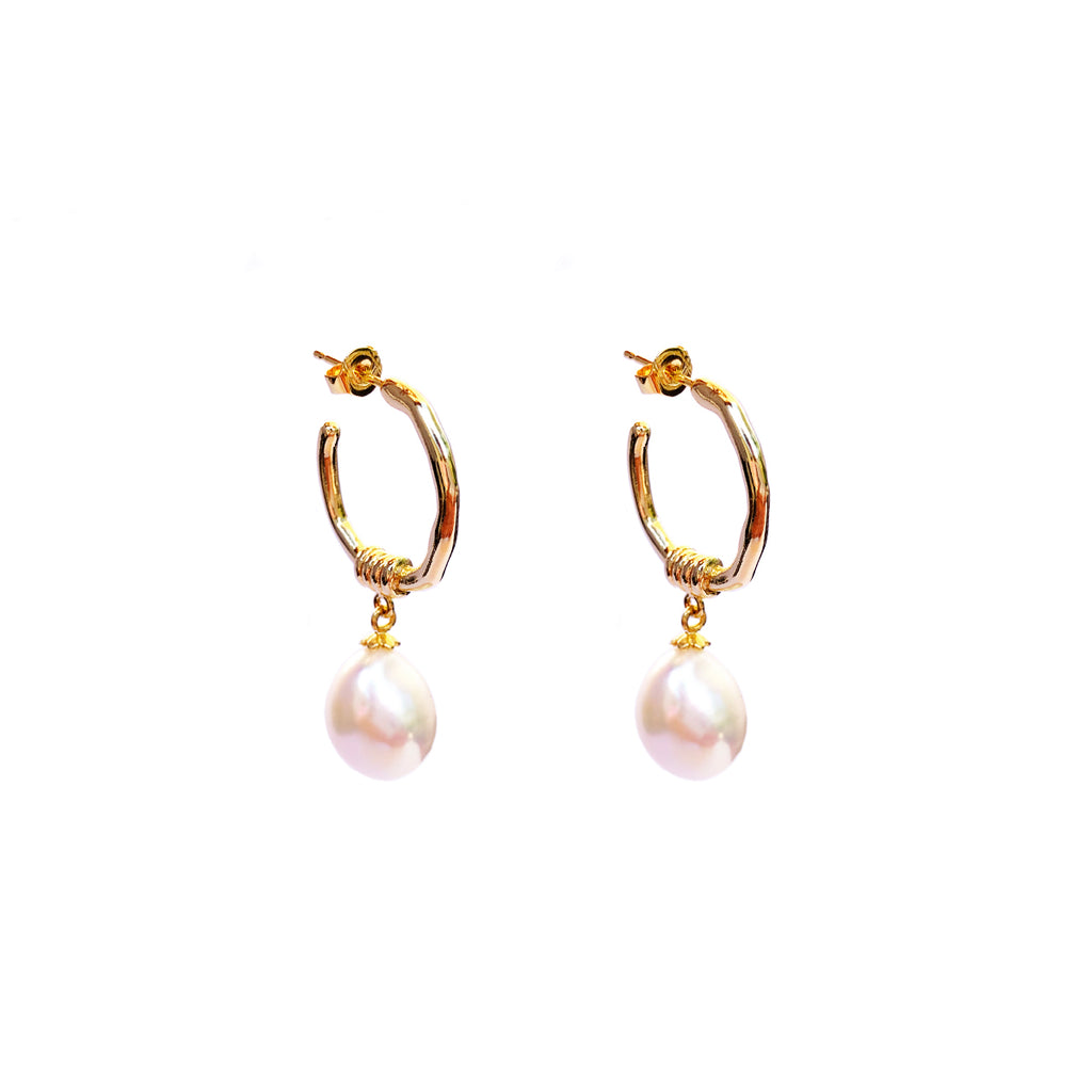 Bella White Pearl Earrings GP
