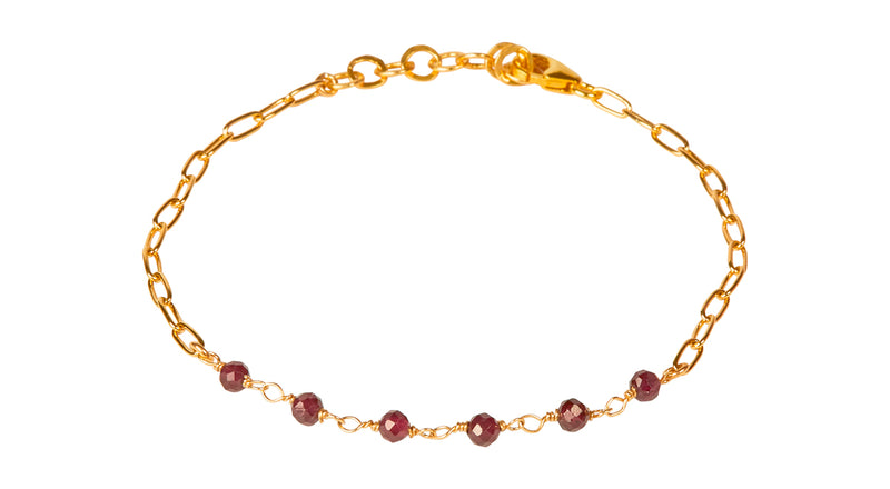 Daisy Red Garnet Bracelet - Gold