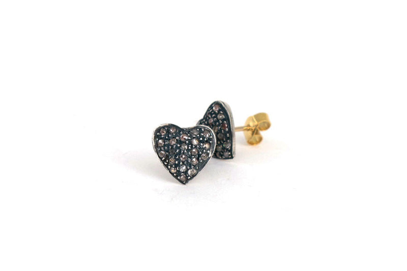 Heart Diamond Earrings Studs YG