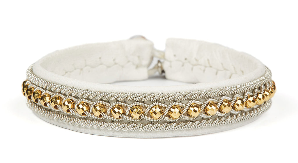 Hella Facet Gold Beads - White