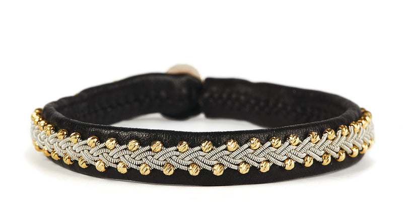 Inga Facet Gold Beads Black