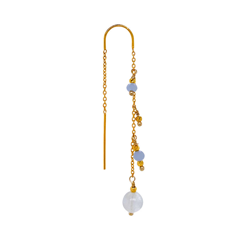 Jessica Aquamarine single Earring - Gold