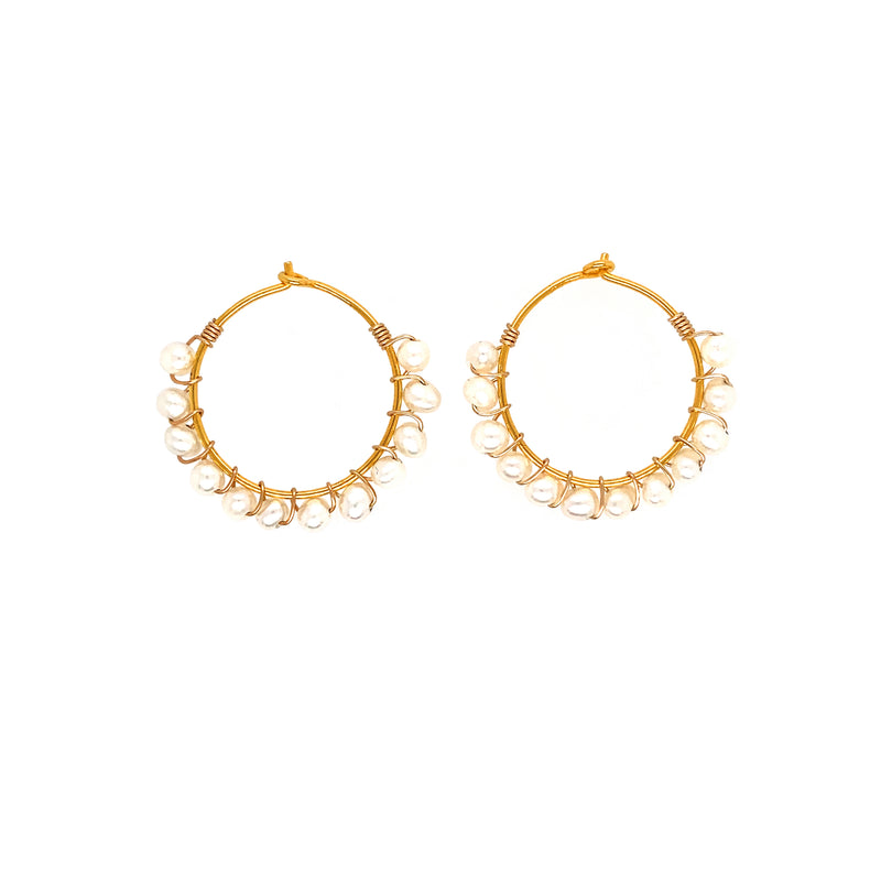 Julie Pearl Earrings - Gold