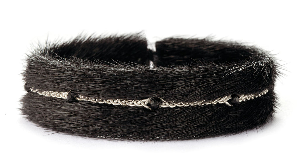 Kajsa Black Fur Crystal Beads