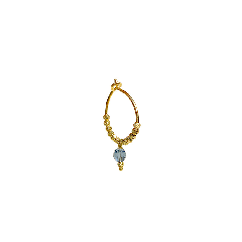 Lennie Blue Crystal Earring  - Gold