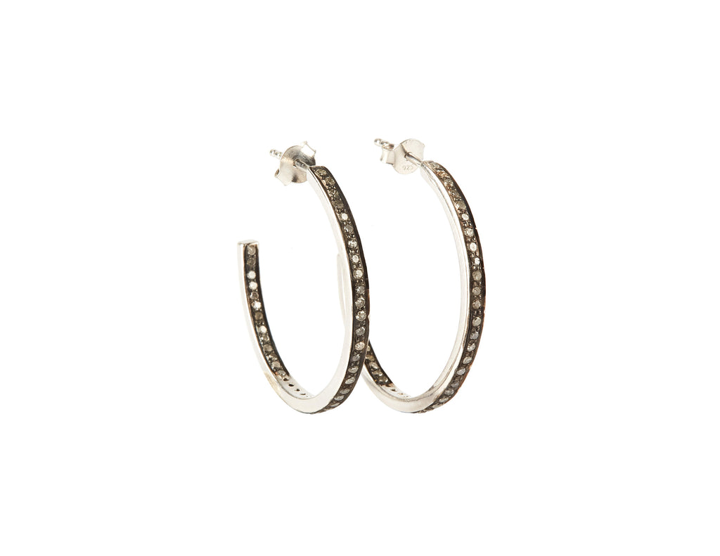 Loop Diamond Earrings 30 mm