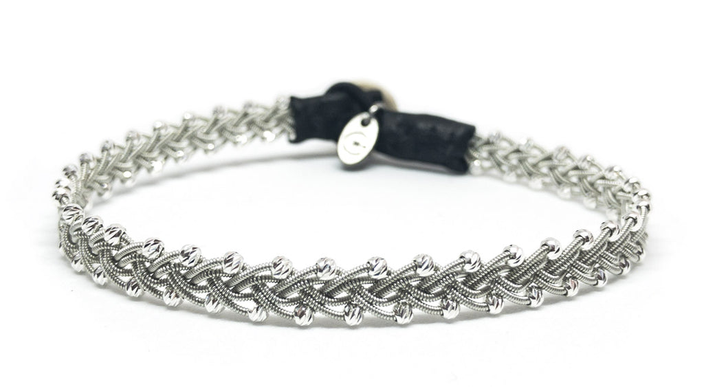 Maria Facet Silver Beads Black