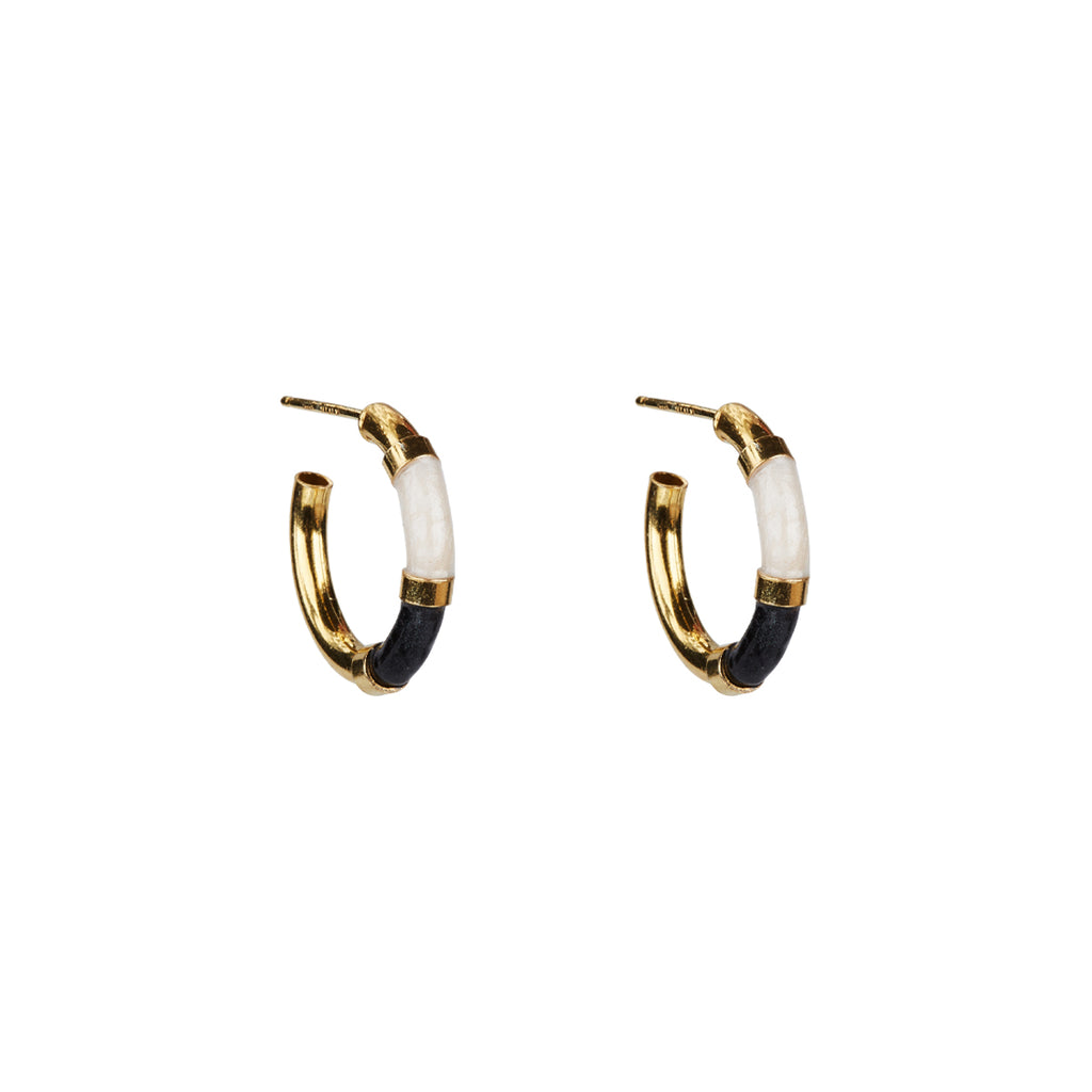Marie Enamel Earrings - Gold