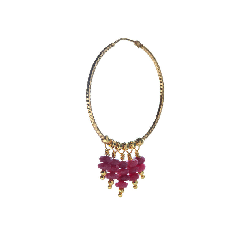 Mila Earring Ruby Jade - Gold