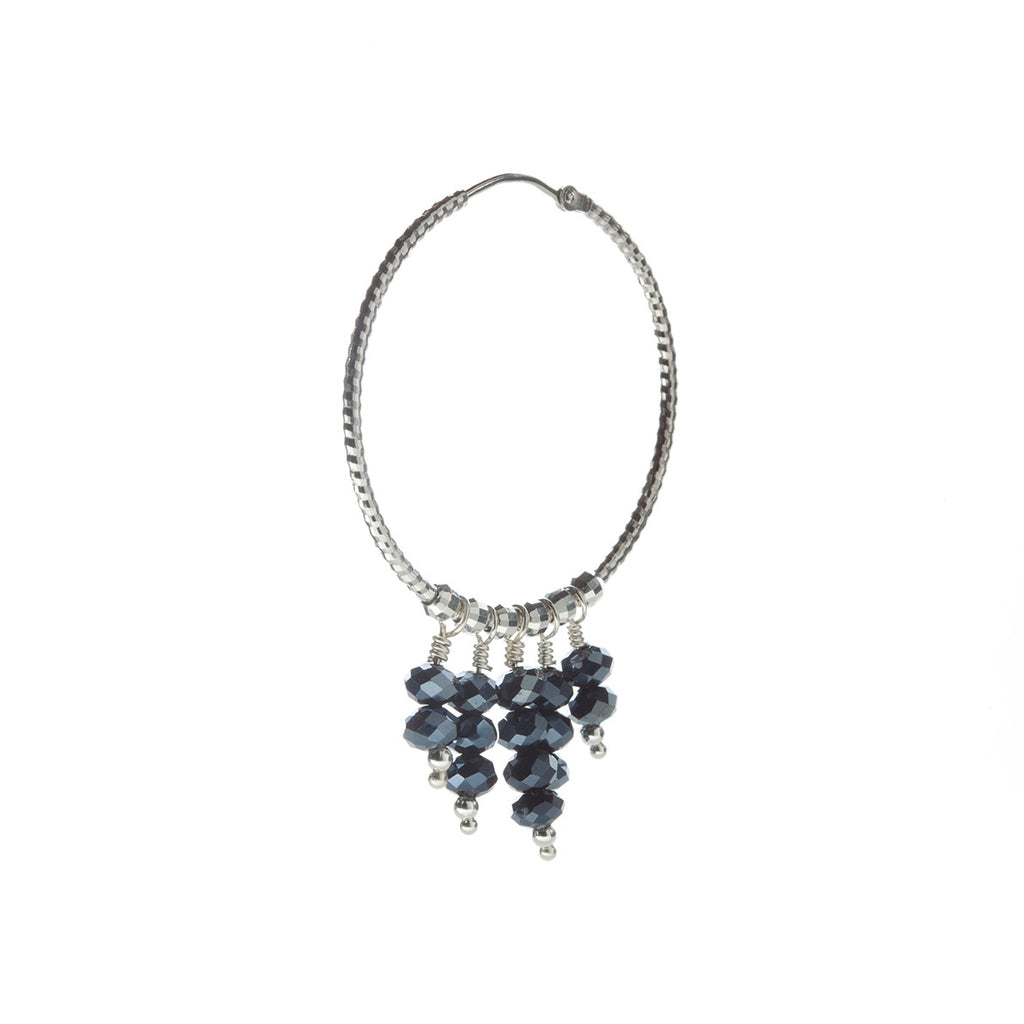 Mila Earring Crystal Midnight Blue - Silver