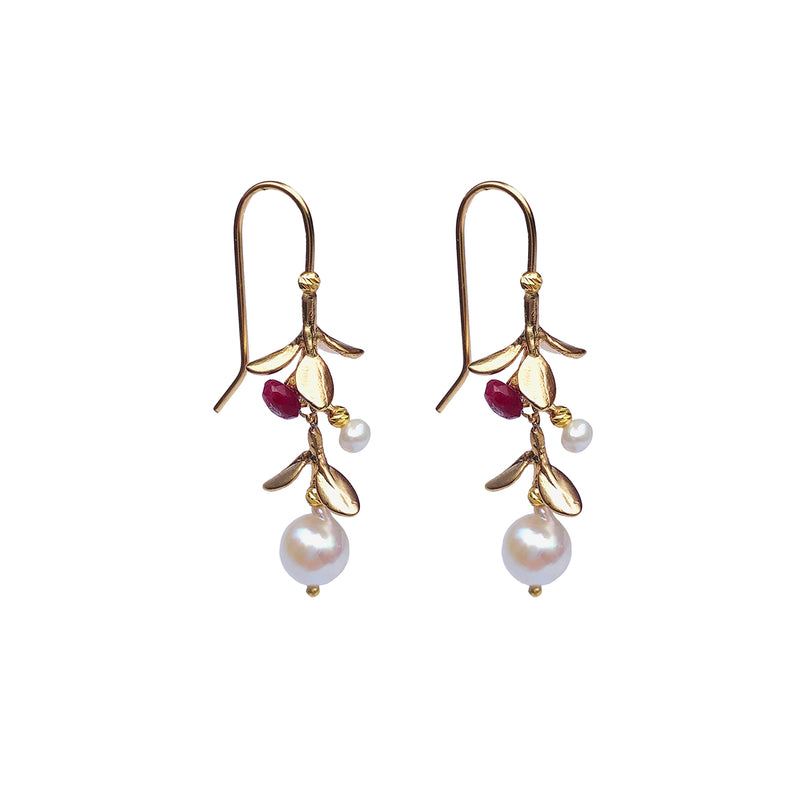 Miranda Ruby Jade Earrings - Gold