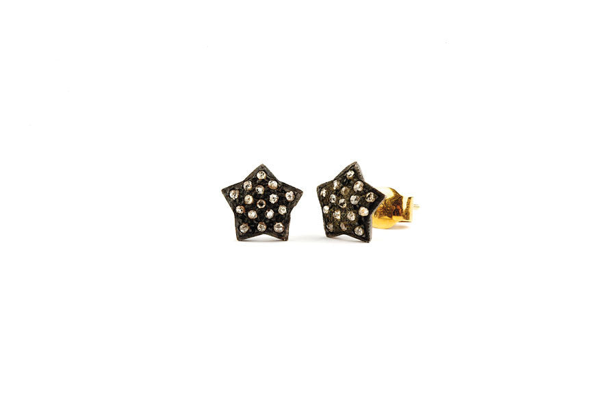 Star Diamond Earrings Studs YG