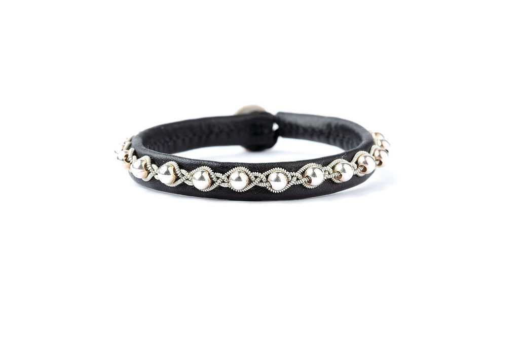 Tyri Facet Silver Beads Black