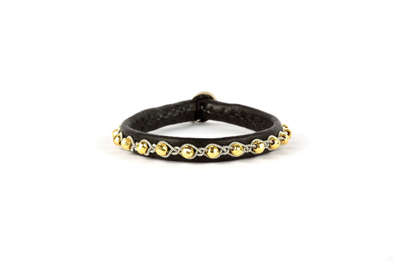 Tyri Facet Black Gold Beads