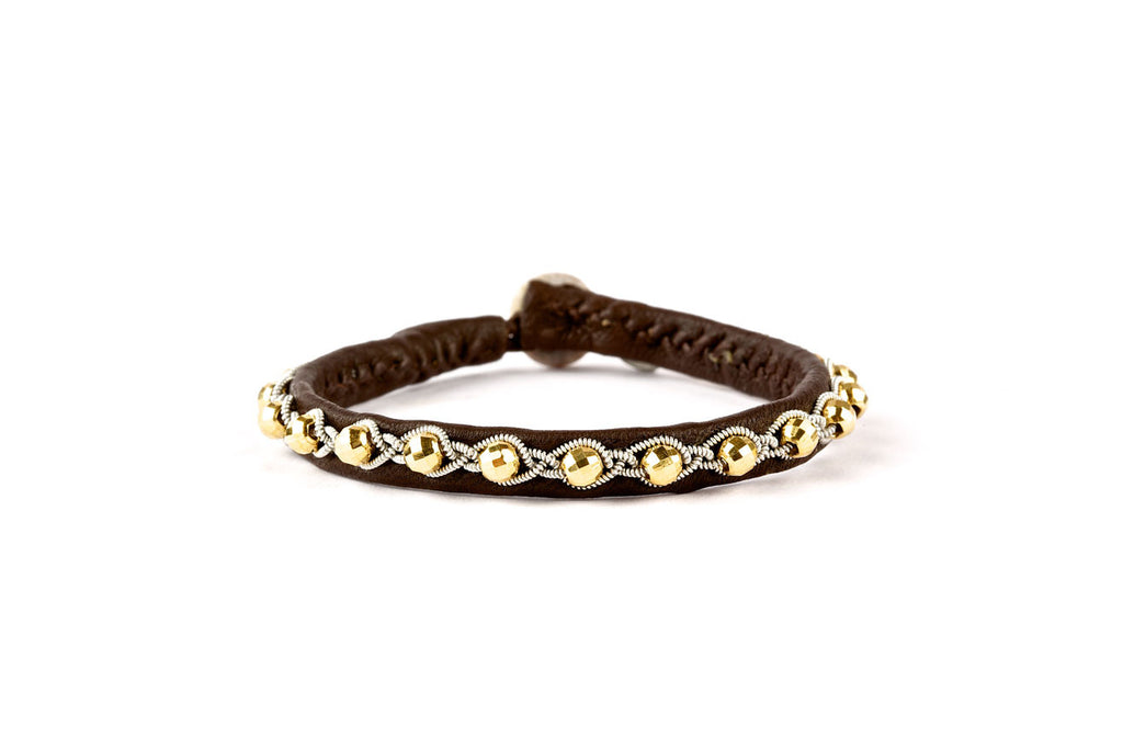 Tyri Facet Gold Beads Brown