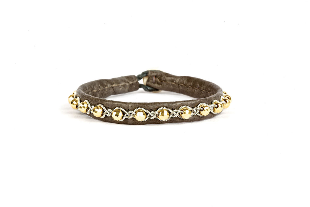 Tyri Facet Gold Beads Croco Grey