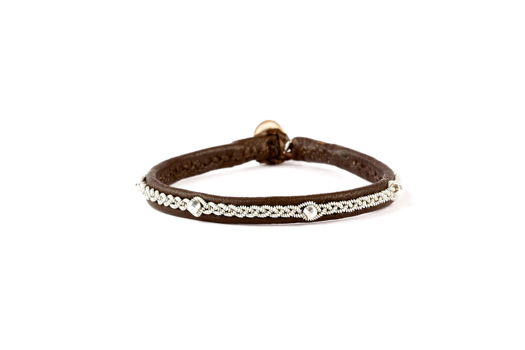 Victoria Facet Silver Beads Brown