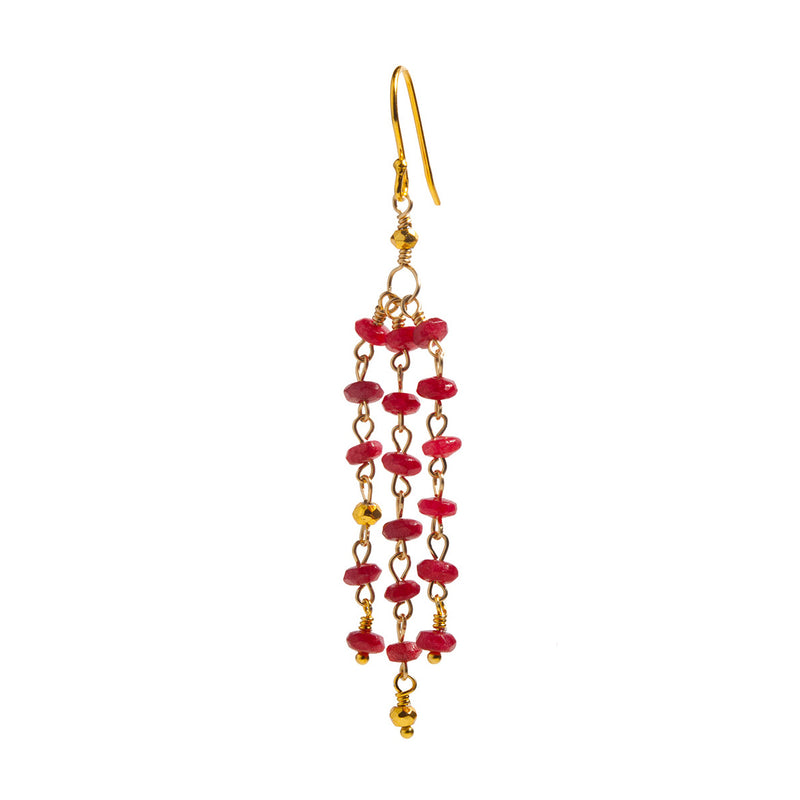 Vilja Ruby Jade Earring - Gold