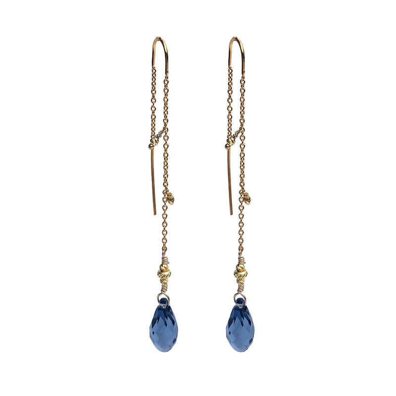 Tessie Blue Denim Crystal Earrings GP