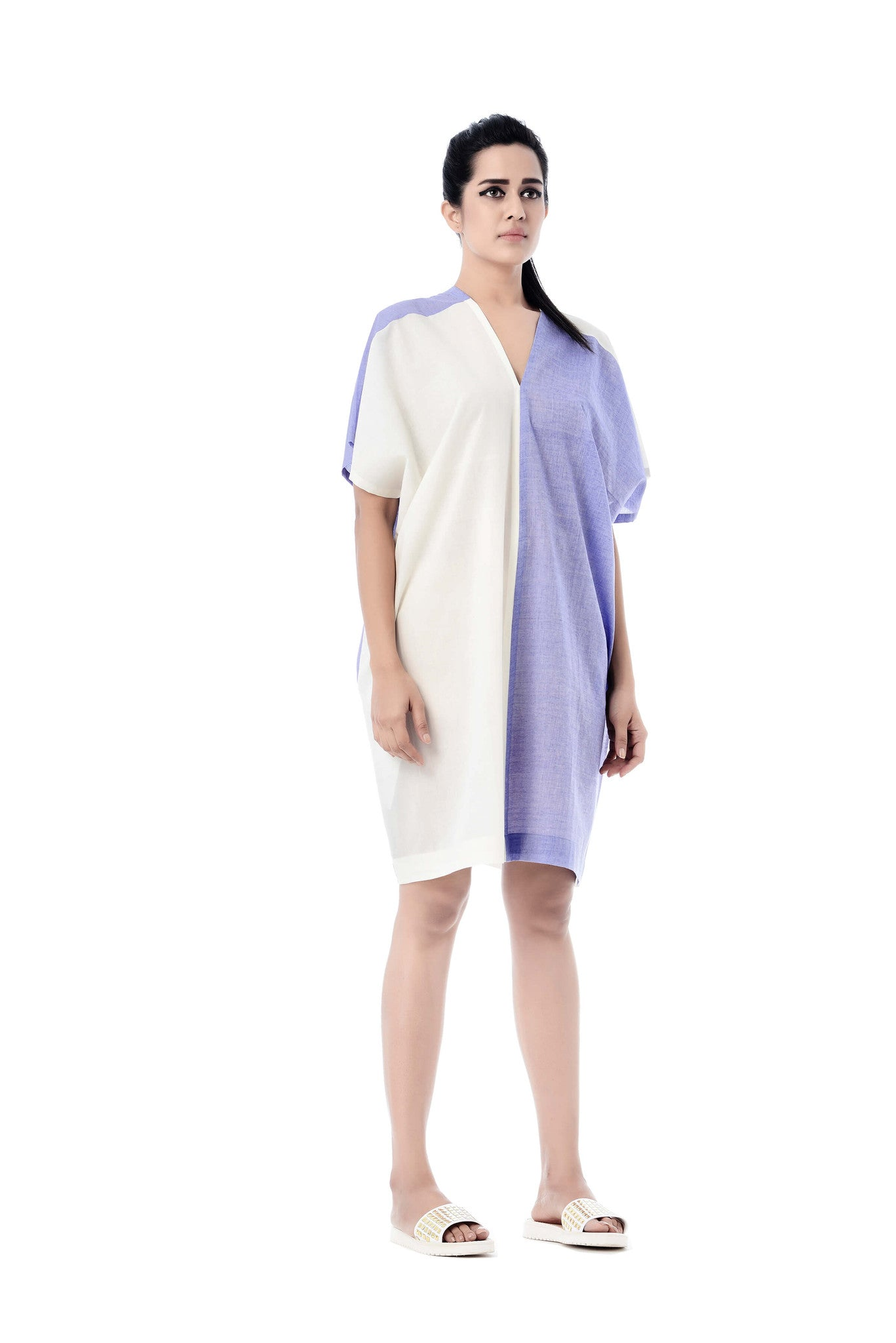 Naina Dress White & Lavendar