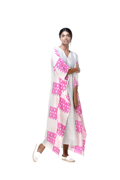 Deepa Jim Kaftan White+Fuschia