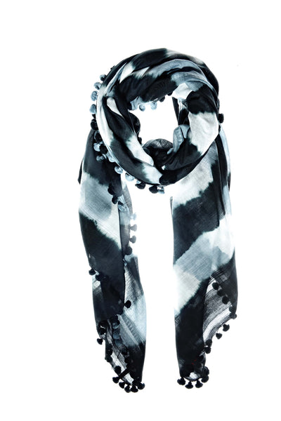 Maya Shawl Tie Dye White + Black (STRIPE)