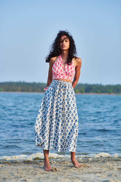 Loulou Skirt Blue Pottery