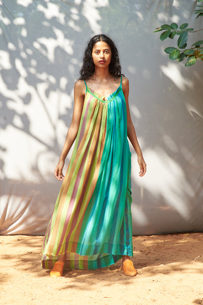 Lebanon Dress Green Multi Stripe