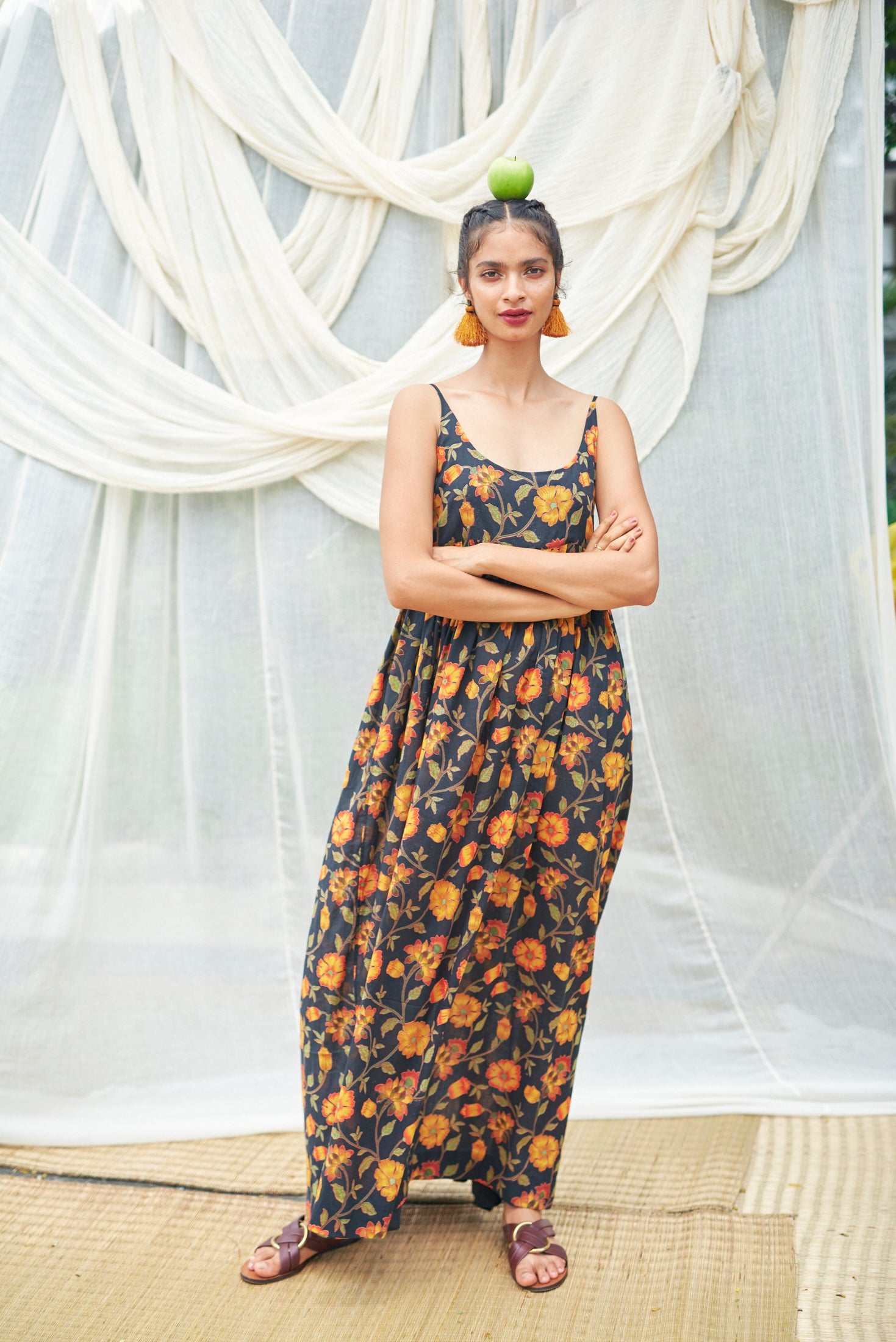 Long Aashi Dress - Black Orange