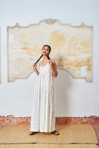 Long Aashi Dress - White Stripe