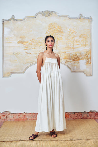 Maira Dress - Ivory+Gold