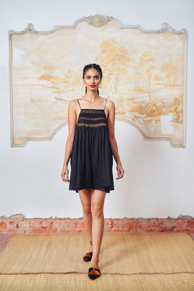 Mini Maira Dress - Black + Gold