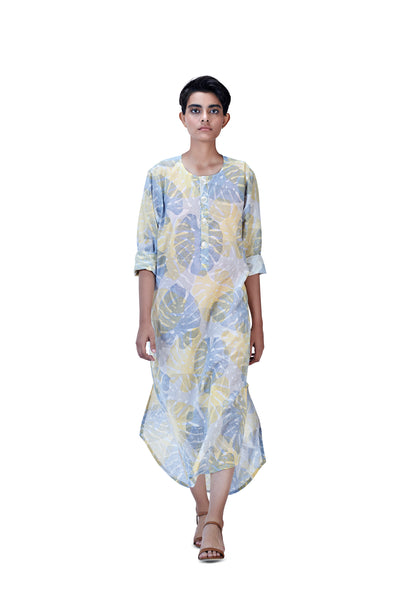 Noel Long Kurta (Blue+Yellow)