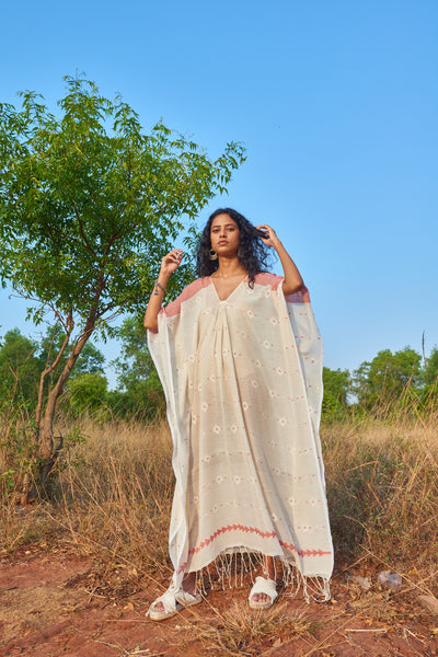 Piku Dress Ivory Vermilliion
