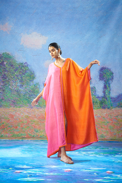 Usha Kaftan Fuchsia+Orange