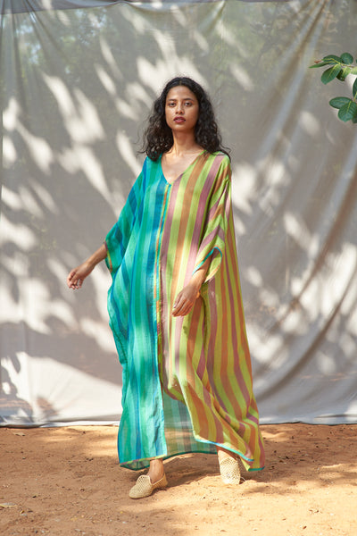 Usha Kaftan Green Multi Stripe