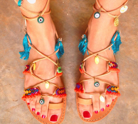 Evil Eye Lace-Up Sandals