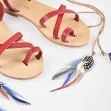Calypso Feathered Leather Sandals