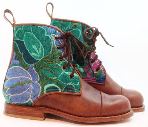 Turquoise Floral Boots