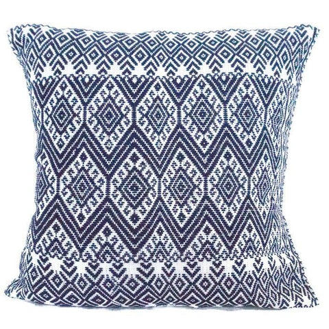 Woven Mexican Pillow - Blue