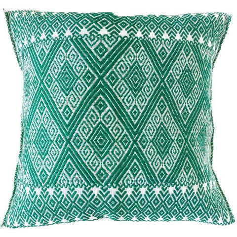 Woven Mexican Pillow - Green