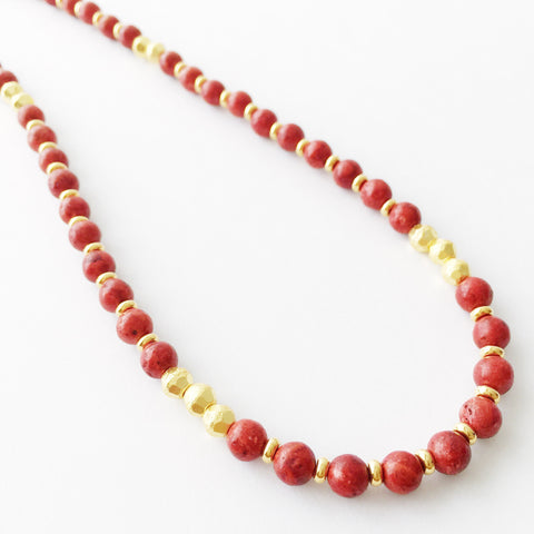 Red & Gold Heishe Necklace