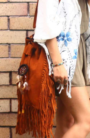 Dreamcatcher Bucket Fringe Crossbody